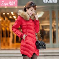 Female down coat 2014 fur collar outerwear slim medium-long down coat female plus size clothing