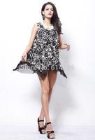 Women  Print rose flower Vest dress European style Milk silk irregular hem the dress black Voile Ruffles recreational dresses