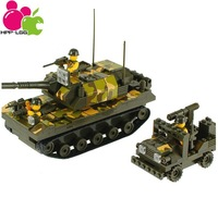 Model Building Kits Scale Models Classic Toys Learning & Education Toys Building Blocks Weapon Tank & Jeep 2in1 400pcs J5515