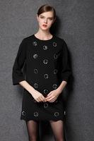 2015brand higth quality antumn winter formal women soild color three quarter round neck work dress office dress plus size XL-4XL