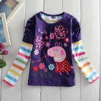 2014 New Design Tops Tess Girls Peppa Pig T-shirt 100% Cotton Children's Long Sleeve TShirts Printed Kids Cartoon Clothing