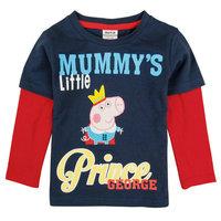 2014 New Design Peppa Tops Tees Boys George Pig T-shirt Kids 100% Cotton t-shirts Baby Embroidery tshirts NOVA Cartoon Clothing