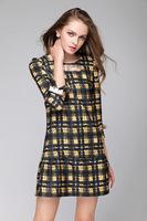 2015brand higth quality antumn winter women silm three quarter round neck bow vintage casual dress fashion dress plus size L-4XL