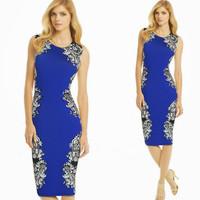 2014 new aliexpress printed sleeveless round neck dresses, slim pencil  hip stars