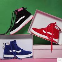 Free Shipping Women's Autumn And Winter Shoes Female Flat Boots High Skateboarding Shoes Cotton Plus Velvet Platform Shoes