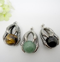 6pcs Wholesale Fashion Jewelry Mix Natural Semi Stone Talons Charm Pendant For Necklace Random delivery (buyer can choose stone