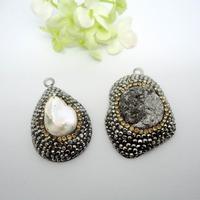 4pcs Wholesale Jewelry Fashion Nature Crystal Pearl Pendant,Free Shape stone Quartz Drusy gem stone Pendant For Jewelry Making