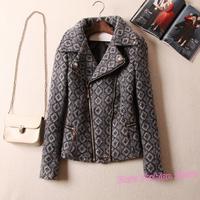 Brand Slim Warm Oblique Zipper Geometric Pattern Women Wool Coat, Winter High Quality Plaid Woolen Outerwear Overcoat XXL Y588