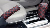 FREE SHIPPING! Hand Brake Case & car Gear shift knob case Superfine fiber reinforced PU leather car interior accessory 2PCS/set