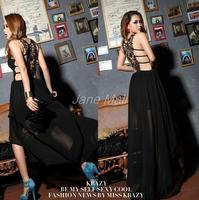 Hot 2014 summer new European and American fashion sexy lace halter black  / khaki dress chiffon dress Free Shipping