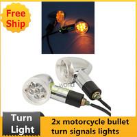 2pcs Chrome LED Bullet Turn Signals Lights for Motorcycle/Chopper/Bobber/Cruiser