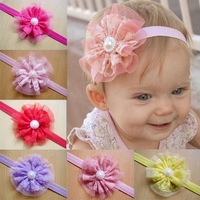 2014 Hair Accessories Baby Girls Lace paerl  Headband Baby Chiffon Flower hairband Infant girl Hair Weave band