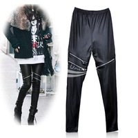 Stylish Women's Girls Black Faux Leather Zip Up Fashion Skinny Pants Leggings Trousers