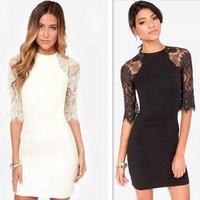 New Fashion Women's Delicate Eyelash Lace Stitching Dress Sexy Half Sleeve Halter Dress Slim Evening Party Mini Dress