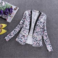2014 autumn flower print blazer female slim zipper detachable two ways outerwear
