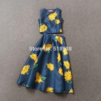 New hot 2015 spring summer women runway brand fashion short  sleeveless tops patterns print long skirt ankle length girls skirts
