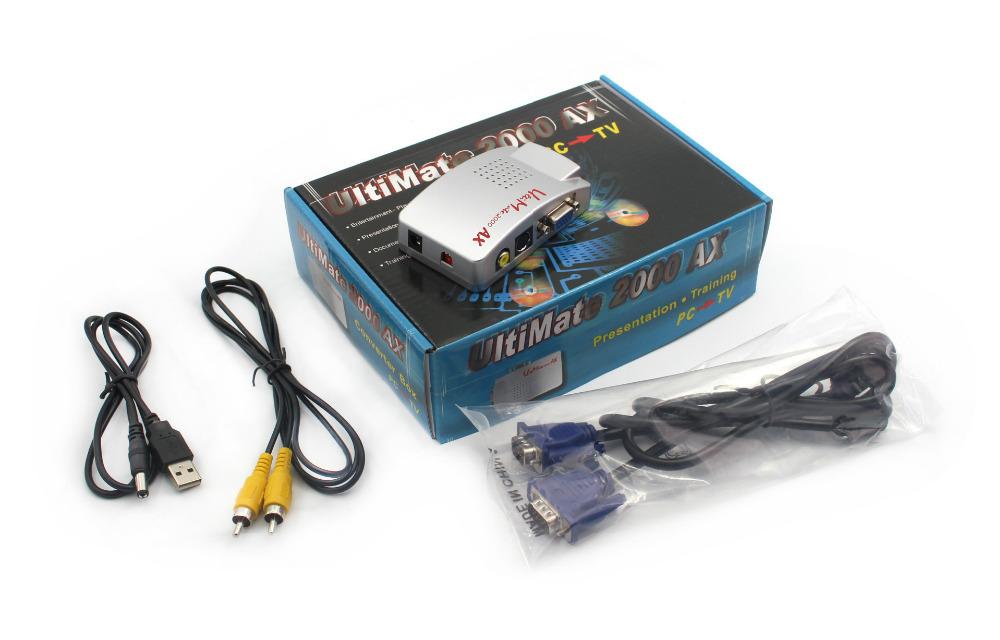 Free Shipping Universal Video Converter VGA to AV PC to TV/Video Recorder/Projector VGA to S-Video USB Power Supply(China (Mainland))