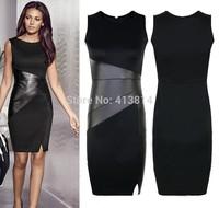 2015 New Celebrity Slim OL pu Leather Patchwork Casual Pencil Dress Sexy Bodycon Sleeveless Elegant Party Vestido C034