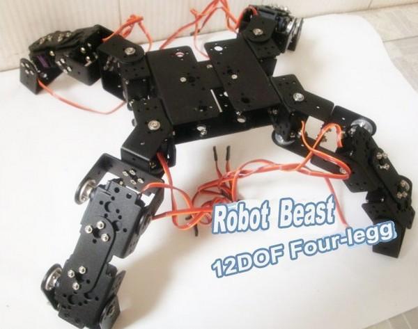 bio-robot, spider robot /12 dof metal four-footed robot & 12 pcs hihg torque servos(metal gear) / robot accessories for DIY(China (Mainland))