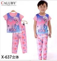 pajama clothes set fashion summer olaf cartoon solid cotton kids baby boys girls children pajamas clothing sets X-637