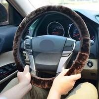 4 Colors Winter Warm Skidproof Plush Soft Imitation Wool Fur Car Steering Wheel Cover Accessories Volante Esportivo 21156