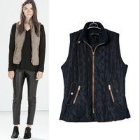 2015winter coat women Women's Fashion Cotton quilting vest women Stand Collar Sleeveless Jacket S M L