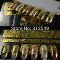 1 sheet 3D Design Fashion Nail Art Gold Metallic Stickers Decals Manicure Adhesive Wraps Tip DIY Nail Foils Sticker Tools #NC055
