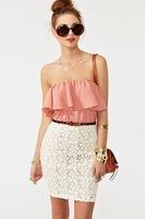 2015 Fashion Women Slash Neck Lace Mini Dress Lady High Quality Chiffon Party Dress S-L Free Shipping
