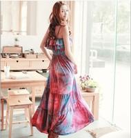2014  New Women's Free Shipping Graceful Stylish Frills Design Braces Bohemian Maxi Dress O12040813