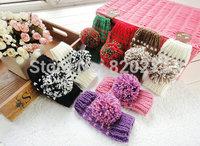 2014 Free shipping new lovely knitting wool gloves Female Autumn & winter warm short gloves half-finger gloves 5colors patchwork