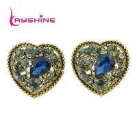Created Emerald  Luxury Design Earrings Vintage Rhinestone Clear Heart Shape  Aloy Stud Earrings For Women