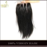 Grade 6A Unprocessed Raw Virgin Indian Straight Hair Lace Closure Virgin Human Hair Weave 3 Part Natural Black Lace Top Closures