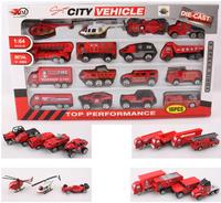 2014 New Year Alloy Car Scale Models Free Ship 16 Pcs/Lot Kids Toys Car Fire Truck Juguetes Educativos Children Brinquedos KT066