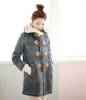 Free Shipping Washed denim jacket big hat fashion winter sherpa coat removal zipper SSY9855