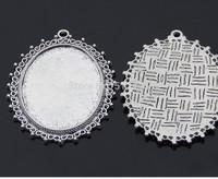 12pcs Antique Silver Vintage Style Oval Pendant Trays,Blanks Bezel Setting charm pendant