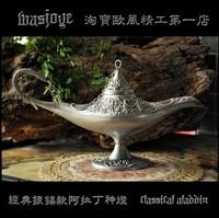 Silver, Tin, Aladdin Magic Lamp Bronze Colored is suing Lamps Tea Pot Genie Lamp Vintage Retro toys for children Home Decoration