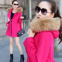2014 women winter wool trench coat Fashion Women's Slim long Wool blended overcoat fashion desigual woman fur jackets women