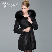 2014 Winter New Lace Fur collar Down jacket Woman Long Hooded Plus Size Slim Parkas Coat