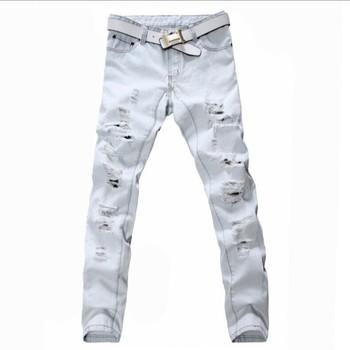Мужская плюс большой размер отверстия разорвал джинсы мужской свободного покроя белый ...