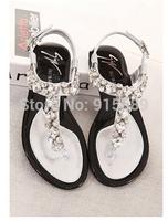 Super Flash flip gem diamond clip toe flat sandals Korean princess shoes 966-17
