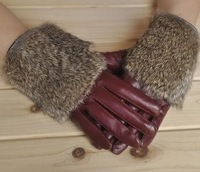 Meng Ya  Ms.   Sheep skin leather gloves   Rabbit fur gloves leisure   MY-0201
