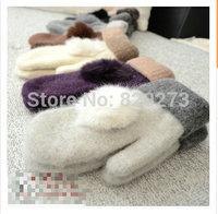 2014 Free shipping new  fashion 100% wool gloves warm Female Autumn & winter warm short gloves rabbit fur ball Double thickening