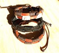 Stylish Men's Leather Braided Bracelets Wristband Double Hemp Lover's Handmade women New Arrival Xmas gift 12pcs