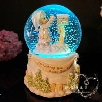 Free shipping  The girl luminous lights letter snow globe music box music box creative birthday gift