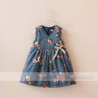New Arrival Cute Girl Sundress Autumn Winter Children Bow Zipper Back Vest Dress Elegant Kid Princess Dresses 3903