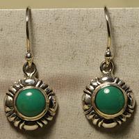 Turquoise 925 bag small flower dot vintage fresh earrings