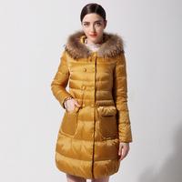 2014 new arrival medium-long down coat with a hood large fur collar fashion slim female