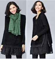 2014 New Plus Size Ladies Korean Rabbit Hair  Embroidery Long Sleeve Winter Dress Women Fashion Evening Dresses vestido rodado