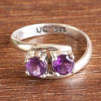 Natural amethyst ring 925 pure silver handmade vintage carved finger ring