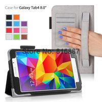 Retail High Quality Leather Case For Samsung Galaxy Tab 4 8'' T330 With Slim Smart Wallet Design Handstrap